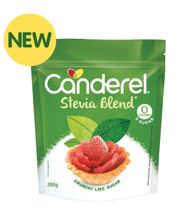 Canderel Stevia Blend packshot with newflash