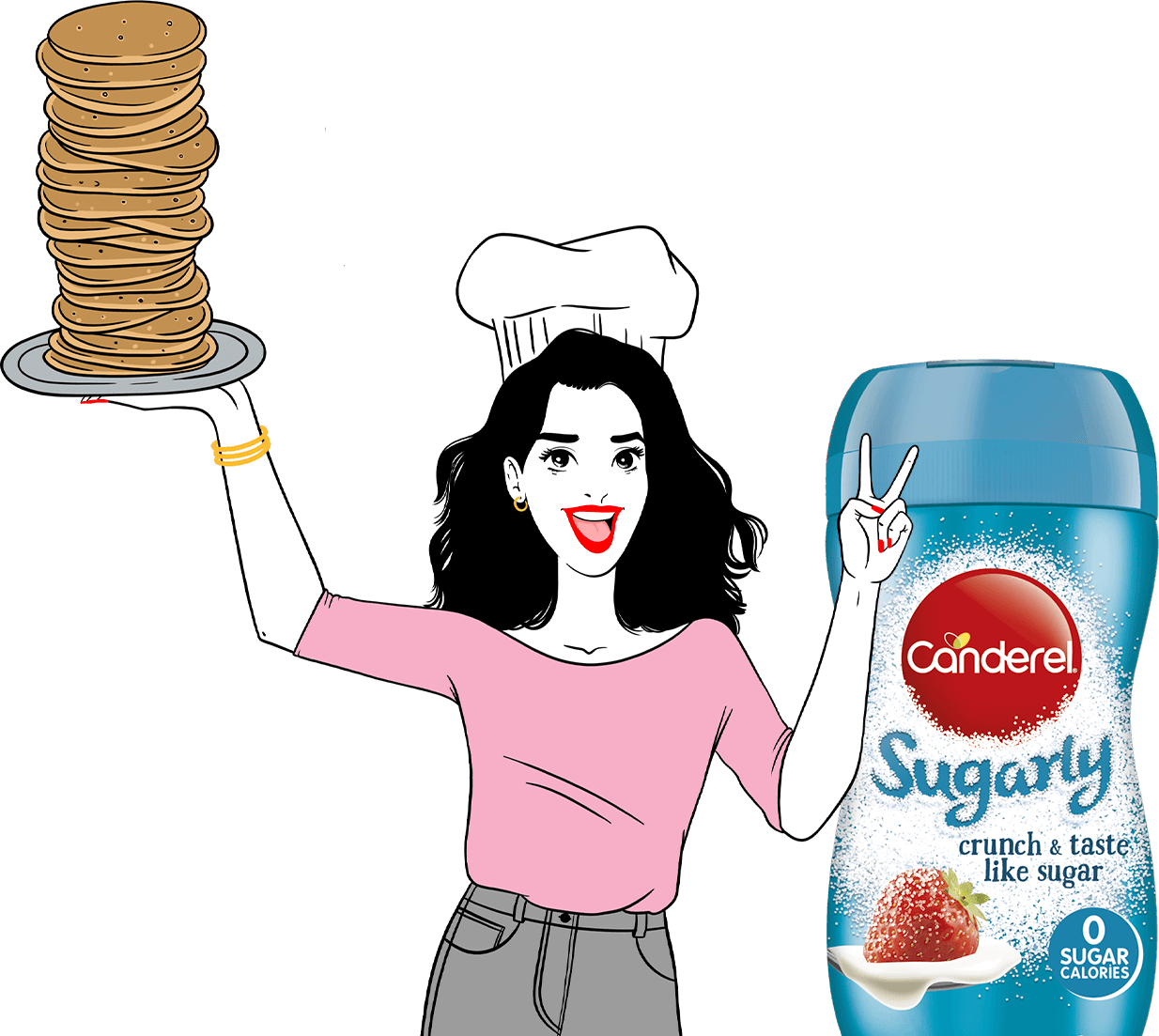 Canderella holding a plate stacked high with pancakes next to Canderel Sugarly